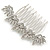 Bridal/ Prom/ Wedding/ Party Rhodium Plated Clear Austrian Crystal Floral Side Hair Comb - 8cm W - view 2