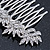Bridal/ Prom/ Wedding/ Party Rhodium Plated Clear Austrian Crystal Floral Side Hair Comb - 8cm W - view 5