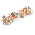 Bridal Wedding Prom Rose Gold Tone Simulated Pearl Diamante Floral Barrette Hair Clip Grip - 80mm Across