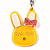 Cute Yellow Plastic Bunny Key-Ring With Crystal Bow