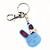 Cute Blue Plastic Bunny Key-Ring With Crystal Bow - view 2