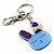 Cute Blue Plastic Bunny Key-Ring With Crystal Bow - view 3