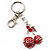 Ruby Red Diamante Cherry Keyring - view 3