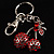 Ruby Red Diamante Cherry Keyring - view 2