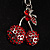 Ruby Red Diamante Cherry Keyring - view 6