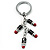 Silver Tone Crystal Enamel Lipstick Keyring/ Bag Charm