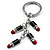 Silver Tone Crystal Enamel Lipstick Keyring/ Bag Charm - view 3