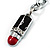 Silver Tone Crystal Enamel Lipstick Keyring/ Bag Charm - view 5