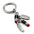 Silver Tone Crystal Enamel Lipstick Keyring/ Bag Charm - view 6