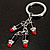 Silver Tone Crystal Enamel Lipstick Keyring/ Bag Charm - view 2