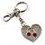 Silver Tone Swarovski Crystal Heart & Cherry Keyring/ Bag Charm