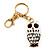 Cute White Enamel Diamante Owl Keyring/ Bag Charm (Burn Gold Plated Metal) - view 5
