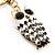 Cute White Enamel Diamante Owl Keyring/ Bag Charm (Burn Gold Plated Metal) - view 4