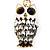 Cute White Enamel Diamante Owl Keyring/ Bag Charm (Burn Gold Plated Metal) - view 3