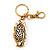 Cute White Enamel Diamante Owl Keyring/ Bag Charm (Burn Gold Plated Metal) - view 6