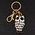 Cute White Enamel Diamante Owl Keyring/ Bag Charm (Burn Gold Plated Metal) - view 8
