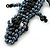 Black/ Hematite Glass Bead Crocodile Keyring/ Bag Charm - 17cm Length - view 2