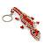 Coral/ Transparent Glass Bead Crocodile Keyring/ Bag Charm - 17cm Length - view 7
