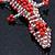 Coral/ Transparent Glass Bead Crocodile Keyring/ Bag Charm - 17cm Length - view 3