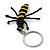 Black/ Yellow Glass Bead Bee Keyring/ Bag Charm - 9cm Length - view 2