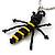 Black/ Yellow Glass Bead Bee Keyring/ Bag Charm - 9cm Length - view 3