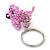 Baby Pink Glass Bead Scottie Dog Keyring/ Bag Charm - 8cm Length - view 8
