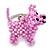 Baby Pink Glass Bead Scottie Dog Keyring/ Bag Charm - 8cm Length - view 5