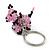 Pink/ Black Glass Bead Scottie Dog Keyring/ Bag Charm - 8cm Length