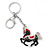 Rhodium Plated Black, Red Enamel, Crystal Horse Keyring/ Bag Charm -10cm Length - view 3