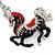Rhodium Plated Black, Red Enamel, Crystal Horse Keyring/ Bag Charm -10cm Length - view 2
