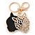Crystal Tiger Keyring/ Bag Charm In Gold Plating - 11cm L - view 3