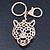 Crystal Tiger Keyring/ Bag Charm In Gold Plating - 11cm L - view 2