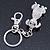 Clear Austrian Crystal Dog Keyring/ Bag Charm In Silver Tone - 11cm L - view 9