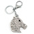 Clear Crystal Horse Head Keyring/ Bag Charm In Silver Tone - 12cm L - view 1