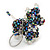 Peacock/ Transparent Glass Bead Scottie Dog Keyring/ Bag Charm - 8cm L