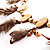 Wooden Nugget Feather Long Suede Cord Safari Necklace - view 4