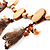 Wooden Nugget Feather Long Suede Cord Safari Necklace - view 8
