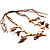 Wooden Nugget Feather Long Suede Cord Safari Necklace - view 11