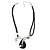 Black Enamel Teardrop Crystal Cord Pendant Necklace - view 7
