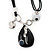Black Enamel Teardrop Crystal Cord Pendant Necklace