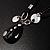 Black Enamel Teardrop Crystal Cord Pendant Necklace - view 6