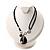 Black Enamel Teardrop Crystal Cord Pendant Necklace - view 3