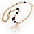 Long Gold Tone Multistrand Tassel Necklace - view 8