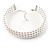 3 Tier Glass Pearl Collar Necklace In Silver Plating (Snow White) - view 5