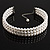 3 Tier Glass Pearl Collar Necklace In Silver Plating (Snow White) - view 4