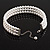 3 Tier Glass Pearl Collar Necklace In Silver Plating (Snow White) - view 3