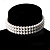 3 Tier Simulated Glass Pearl Collar Necklace In Silver Plating (Snow White)