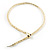 Mesmerizing Gold Tone Snake With Red Eyes Choker Necklace - view 2