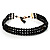 3 Strand Black Glass Bead Choker Necklace (Gold Tone)