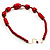 Glamorous Red Nugget Ceramic Necklace - view 6
